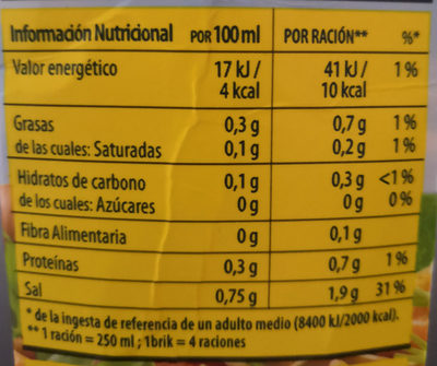 Caldo de cocido casero 100% natural envase 1 l - Informations nutritionnelles - es