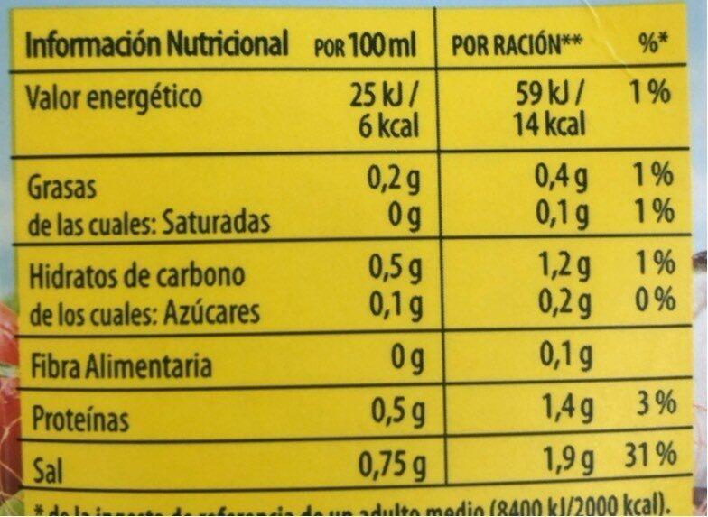 Caldo de pescado casero natural - Nutrition facts - es