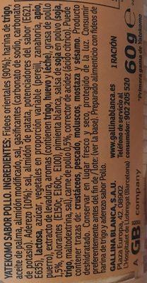 Chinese Soep Noedels, Yatekomo Oriental Gallina Blanca - Ingredients