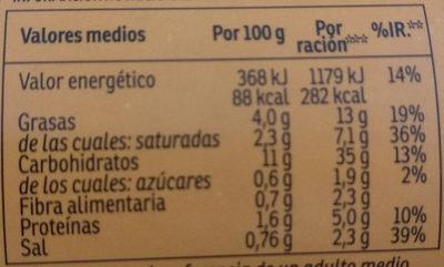 Yatekomo fideos orientales instantáneos sabor pollo listos en 3 minutos vaso 60 g - Información nutricional