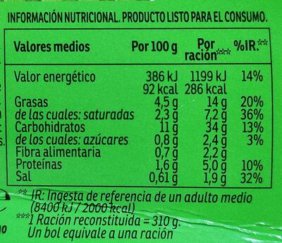 Yatekomo fideos orientales instantáneos con verduras listos en 3 minutos vaso 59 g - Informació nutricional