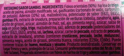 Yatekomo fideos orientales instantáneos sabor gamba listos en 3 minutos vaso 60 g - Ingredientes