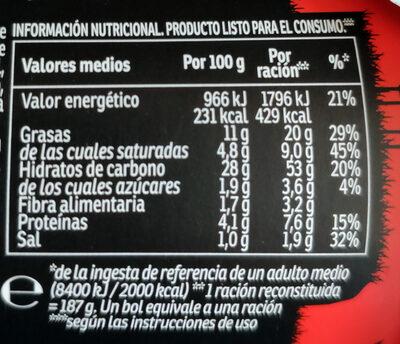 Yatekomo Yakisoba Classic - Nutrition facts - es