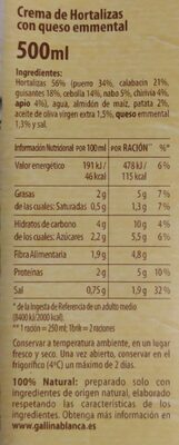 Crema casera 7 verduras - Informació nutricional - es