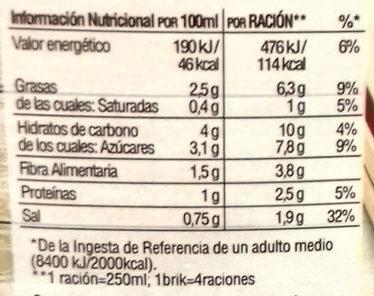 Crema de calabaza casera envase 1 l - Información nutricional - es