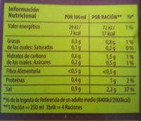 Caldo para paella de carne fácil envase 1 l - Informations nutritionnelles - es
