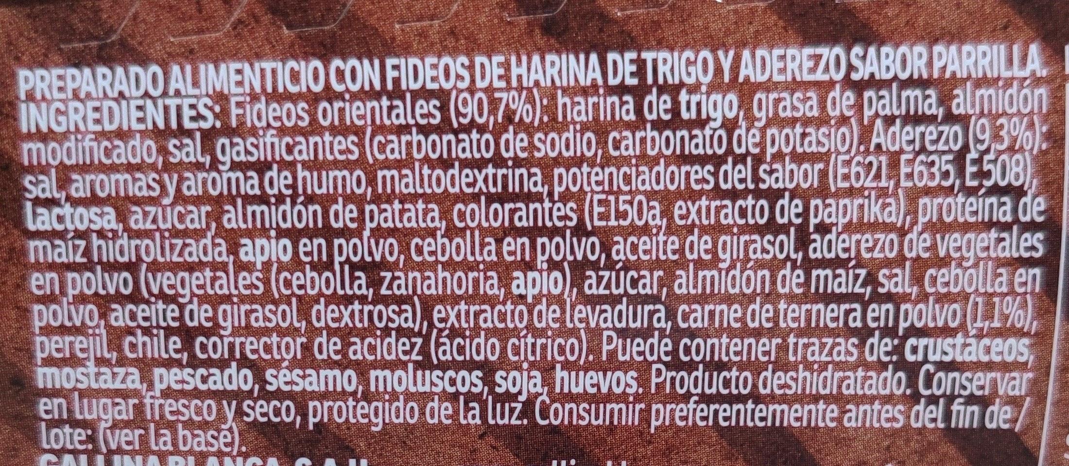 Yatekomo fideos orientales instantáneos parrilla vaso 80 g - Ingredientes
