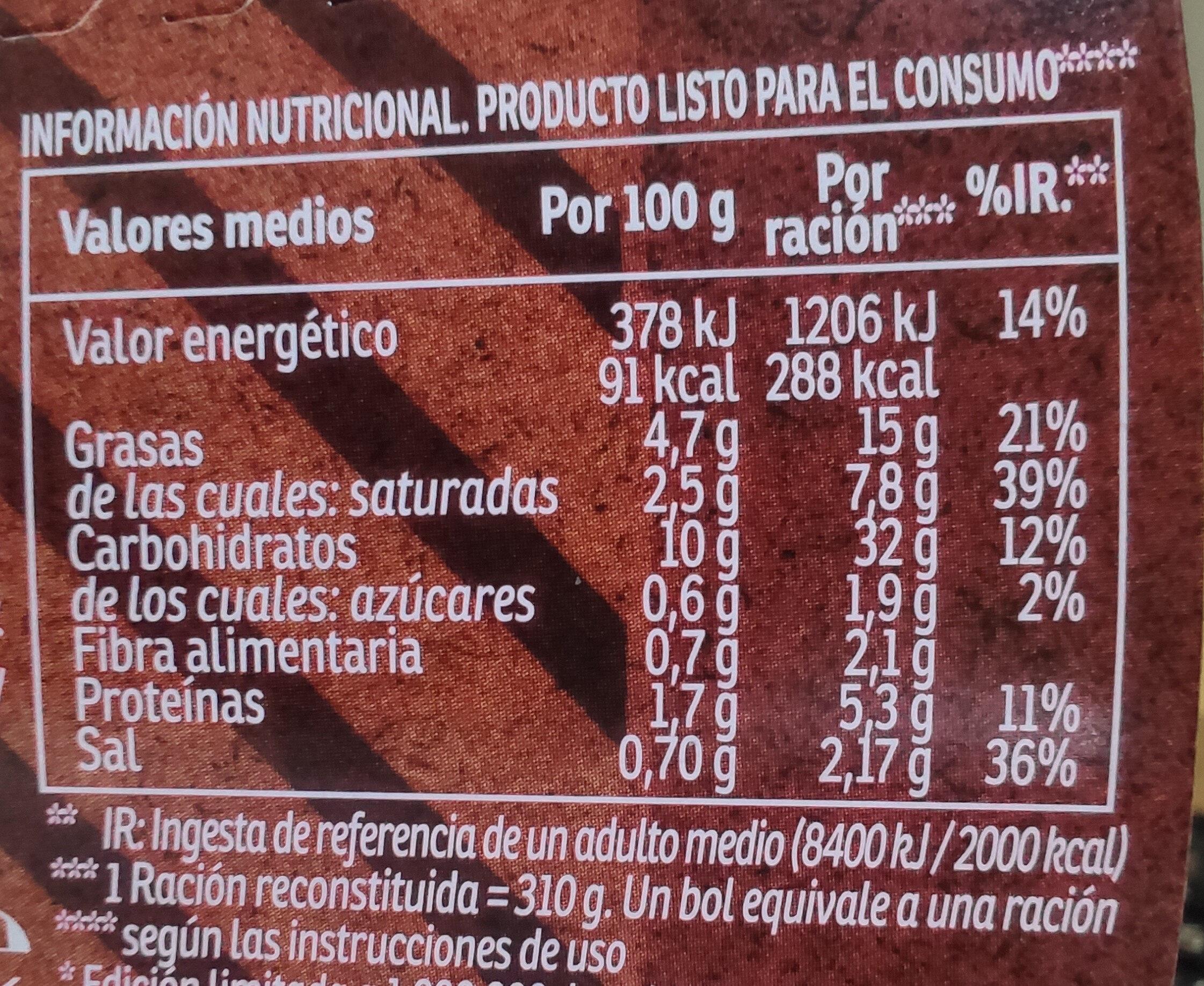 Yatekomo fideos orientales instantáneos parrilla vaso 80 g - Información nutricional