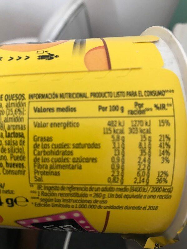 Yatekomo fideos orientales instantáneos 4 quesos vaso 80 g - Informations nutritionnelles - es