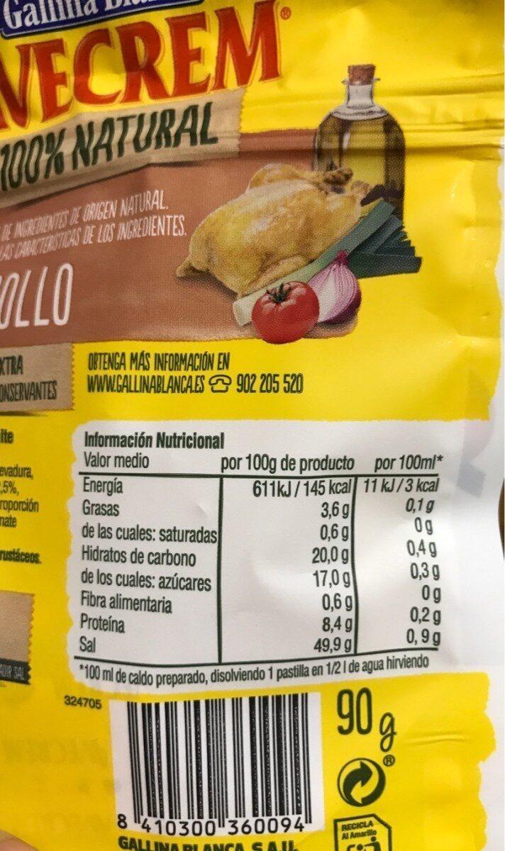 Caldo de pollo sin gluten natural - Información nutricional