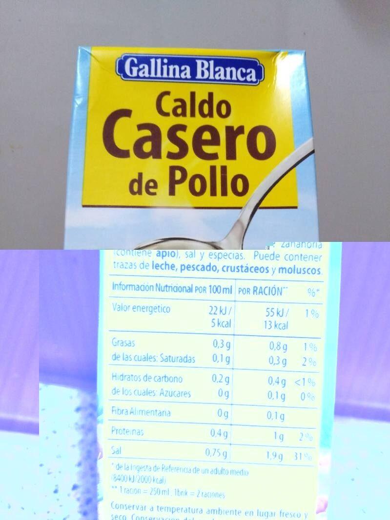 Caldo De Pollo Casero 100 Natural Envase 500 Ml Gallina Blanca 500 G
