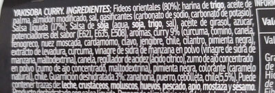 Yakisoba fideos orientales sabor curry vaso 93 ml - Ingredients - es