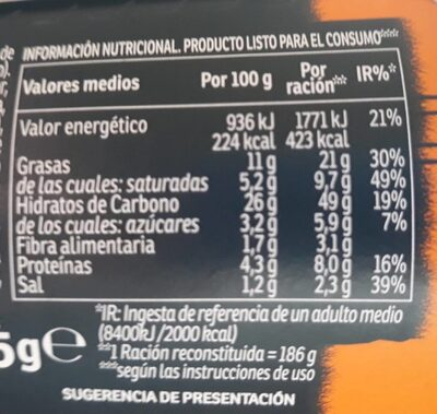 Yakisoba fideos orientales sabor curry vaso 93 ml - Nutrition facts - es