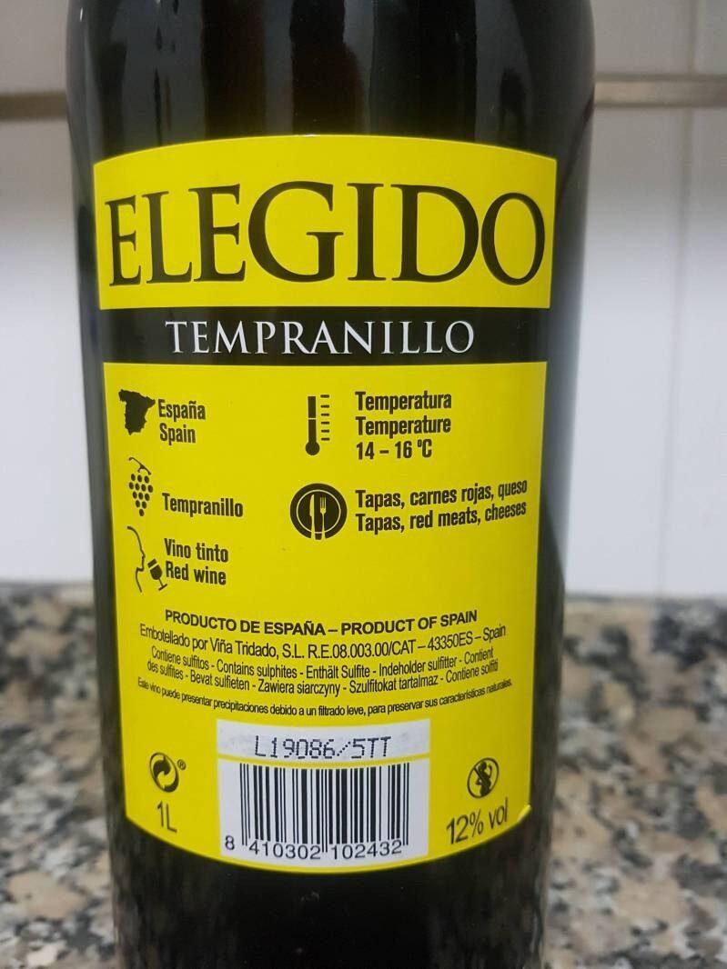 Tempranillo Elegido - Ingredients
