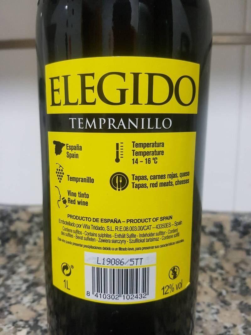 Tempranillo Elegido - Informació nutricional
