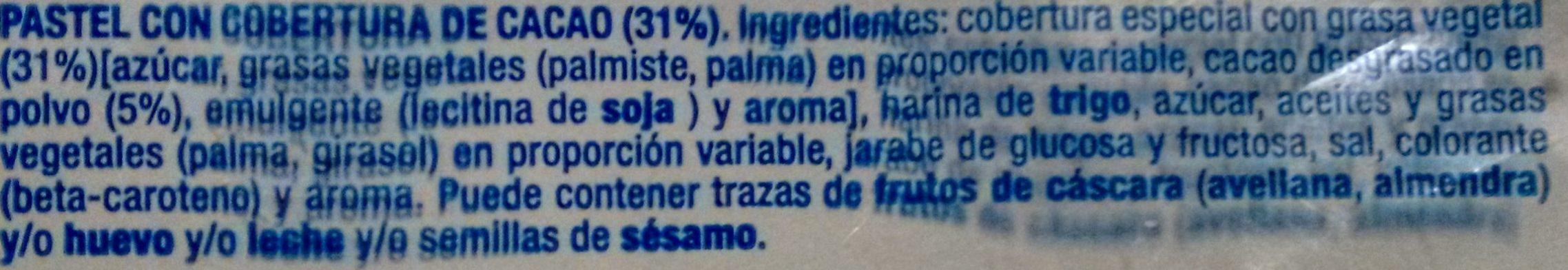 Palmera bañada al cacao - Ingredientes