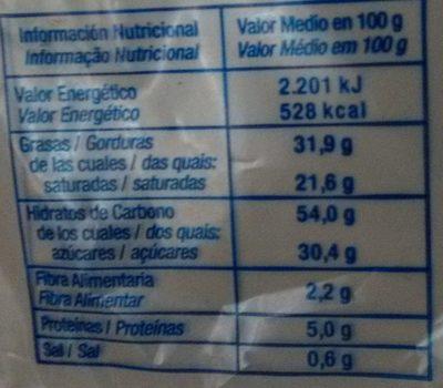 Palmera bañada al cacao - Información nutricional