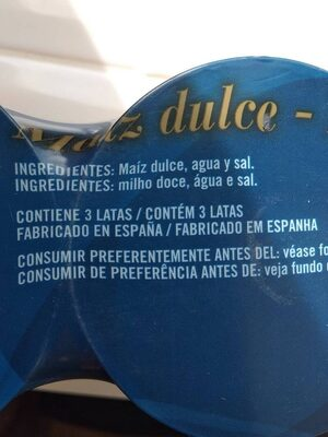 Maiz dulce - Ingredientes