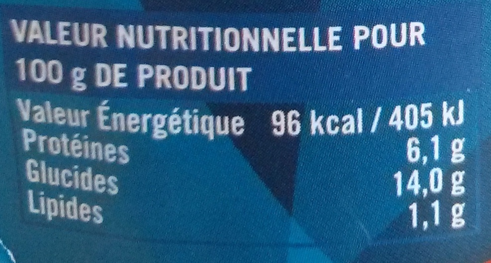 Pois chiches - 570 g - Cidacos - Informations nutritionnelles - fr