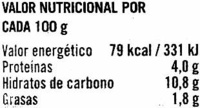 Lentejas a la jardinera - Informations nutritionnelles - es