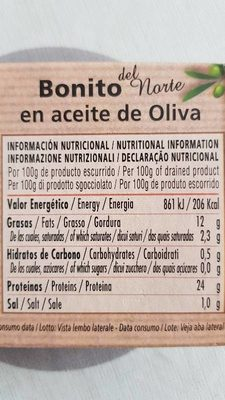 Bonito del norte - Informations nutritionnelles
