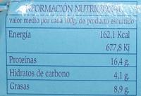 Mejillones en salsa de escabeche - Información nutricional