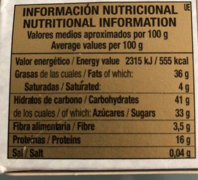 Turrón de Almedra y Miel - Informations nutritionnelles