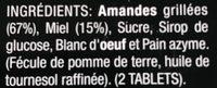 Turrón de Alicante I.G.P. tableta 250 g - Ingrédients