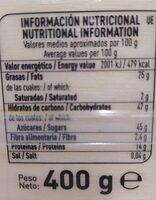 Turrón de yema tostada - Informations nutritionnelles - es