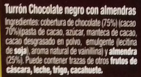 Turrón de chocolate negro con almendras - Ingredients
