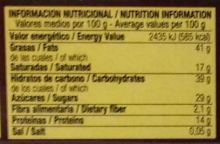 Turrón de chocolate negro con almendras - Nutrition facts
