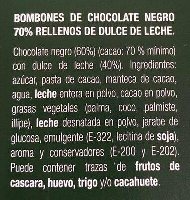 Bombones de chocolate rellenos de dulce de leche - Ingrédients - es