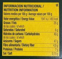 Bombones de chocolate rellenos de dulce de leche - Informations nutritionnelles - es