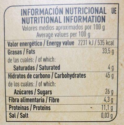 Polvorones de almendra con aceite de oliva y harina integral estuche 310 g - Informations nutritionnelles