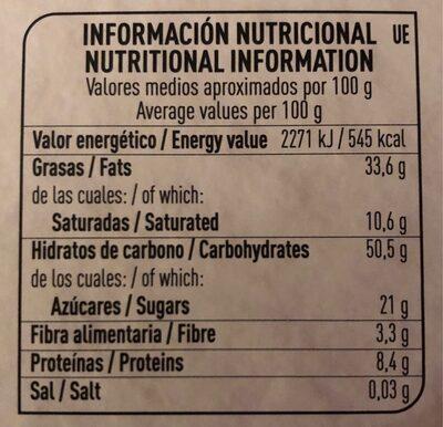Polvorones de almendra con pepitas de chocolate negro - Informations nutritionnelles - es