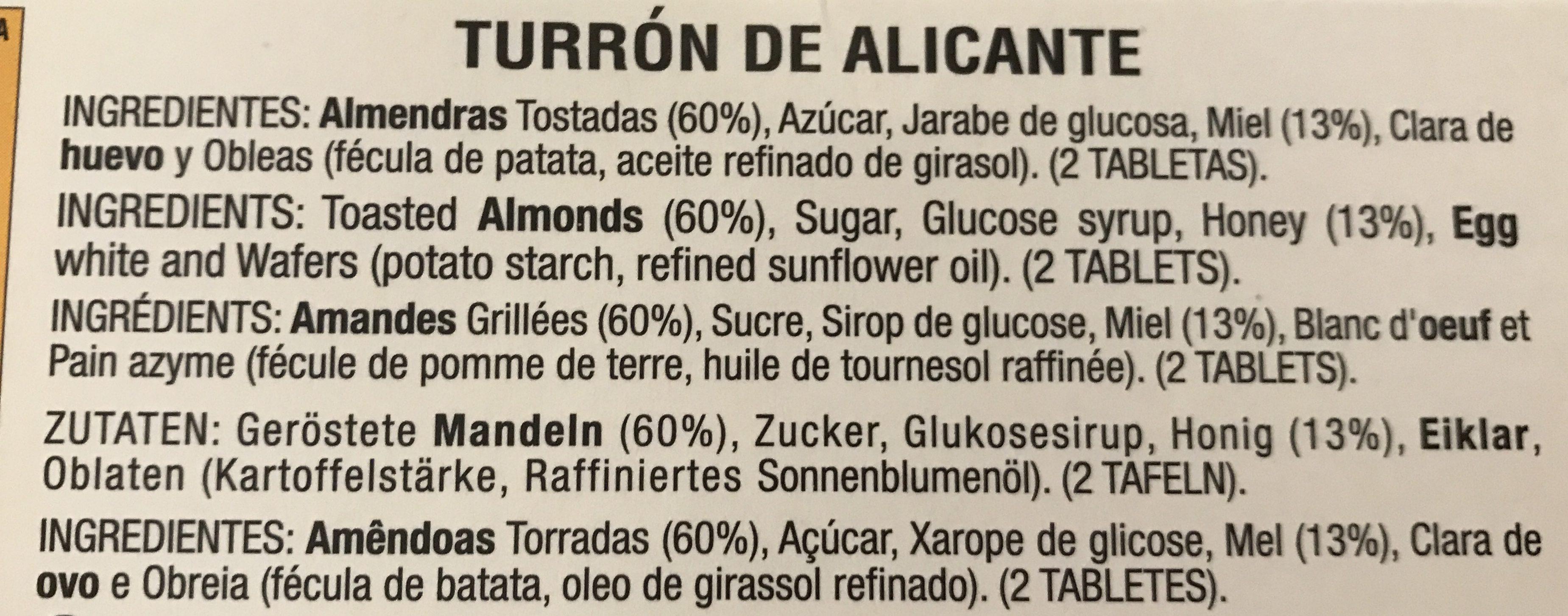 Turrón Alicante - Ingrédients - fr