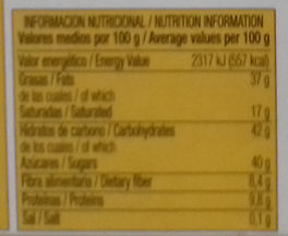 Turrón Chocolate con Almendras - Nutrition facts