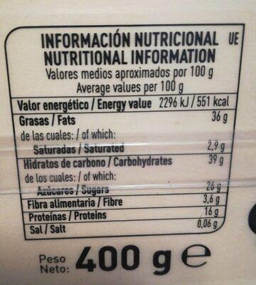 Turrón de alicante - Informations nutritionnelles - es