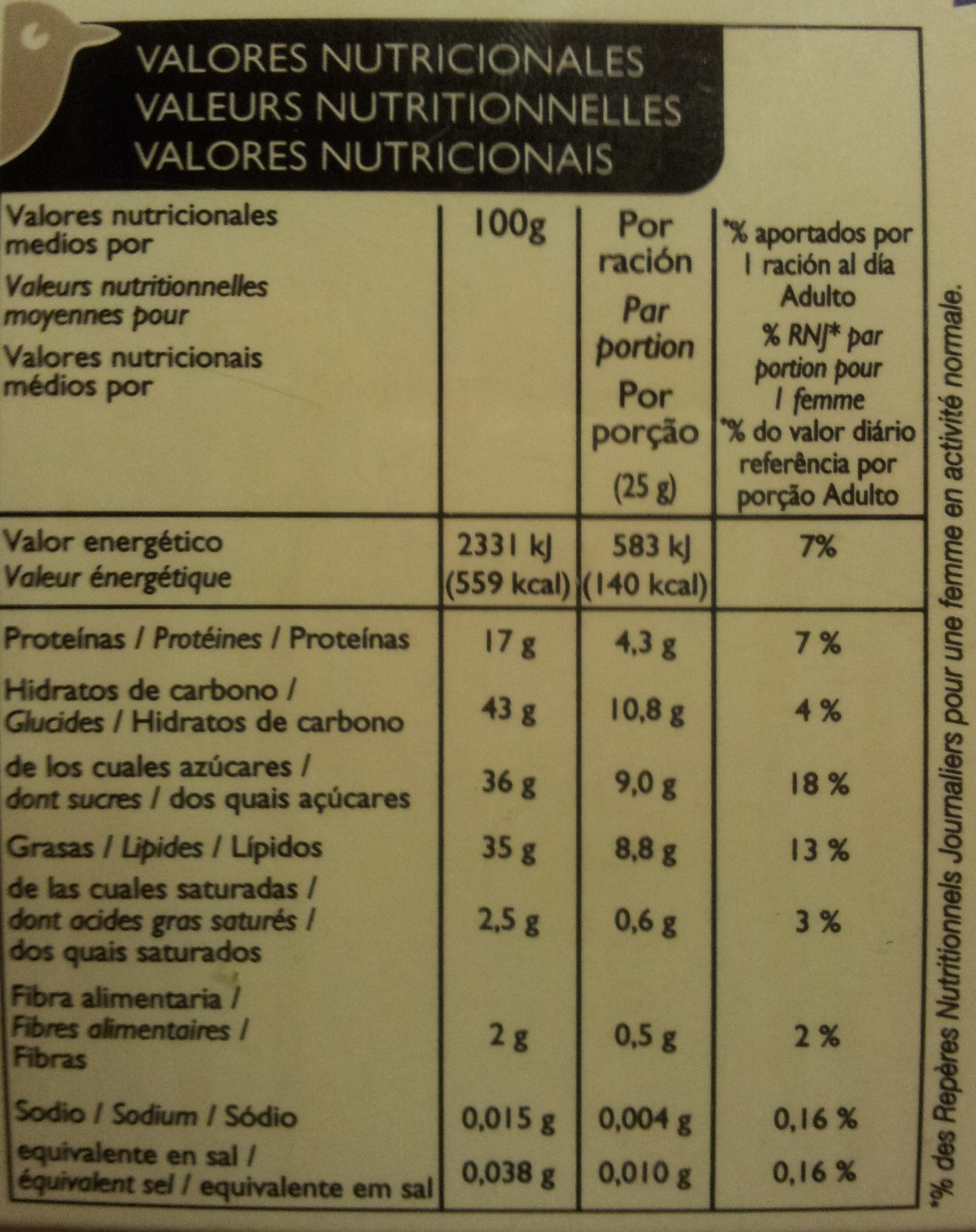 Turrón de Alicante - Nutrition facts