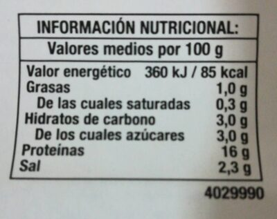 Finíssimas pechuga de pavo - Informació nutricional - fr