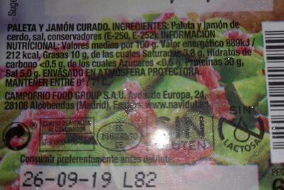 Tiras de paleta y jamón curado sin gluten sin lactosa - Voedigswaarden