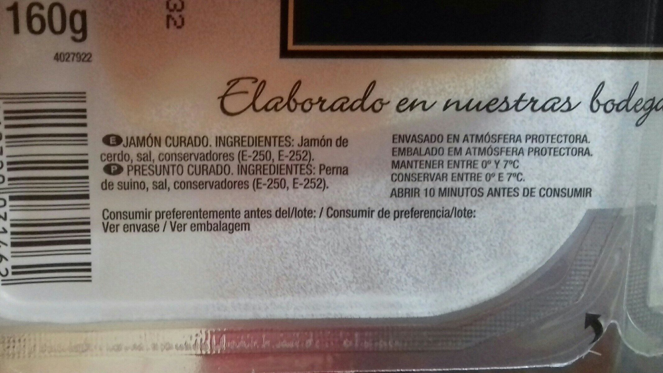 Jamón serrano medias lonchas sin gluten sin lactosa - Ingredients