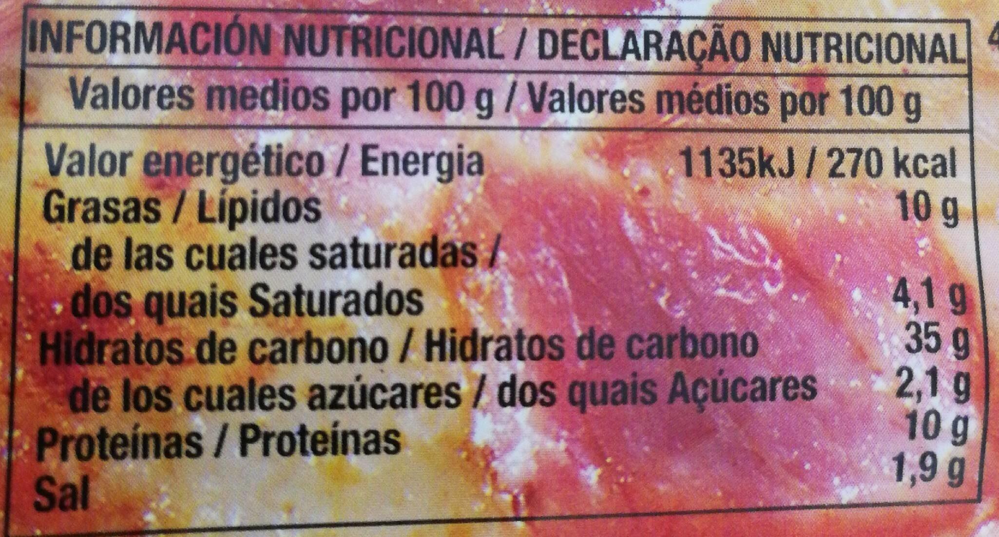 Pizza & Salsa Jamón y queso - Información nutricional