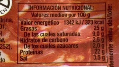 Chorizo Revilla Tradicional Lonchas 85GR - Informations nutritionnelles
