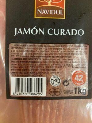 Jamón curado - Informations nutritionnelles