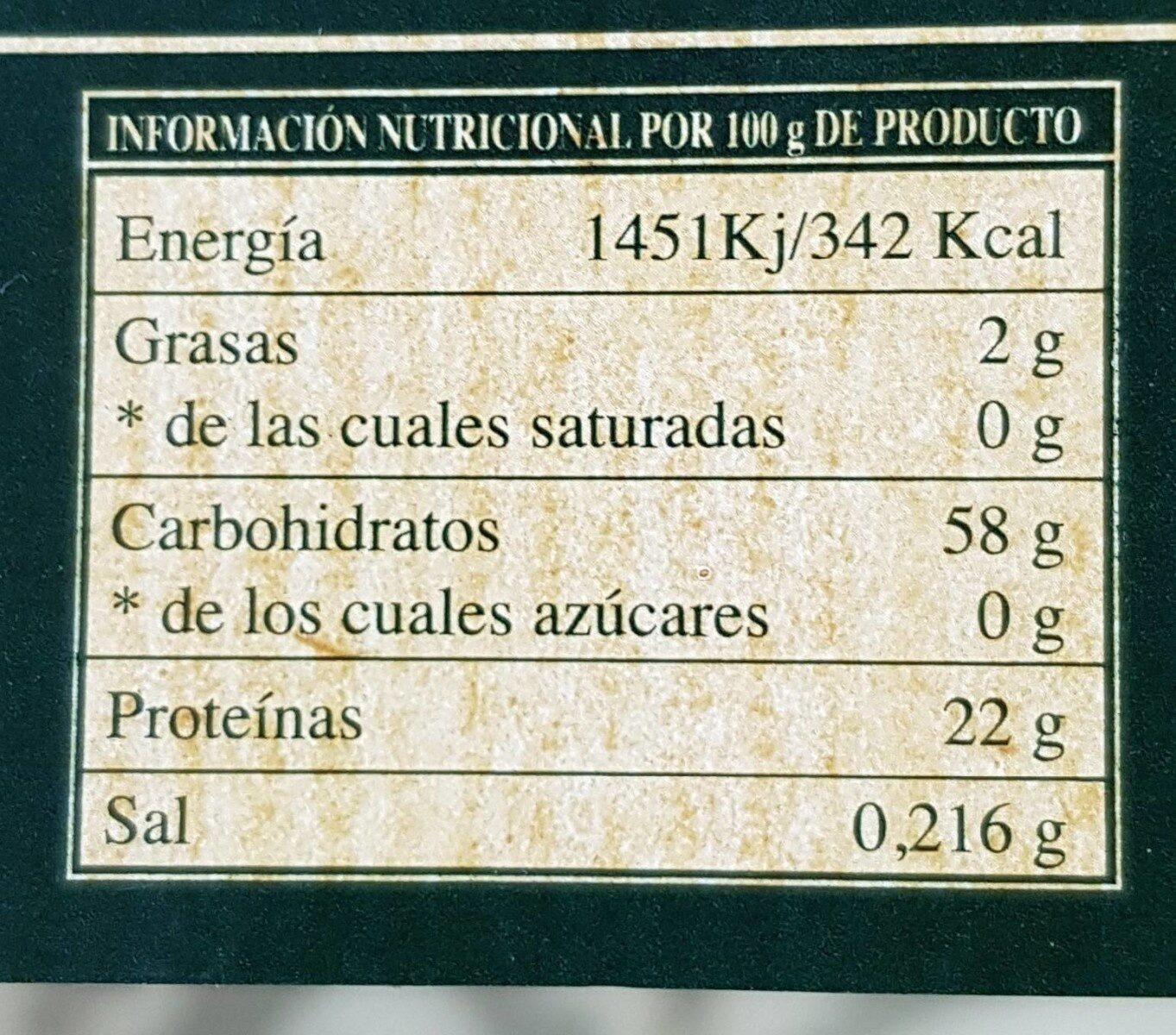 Alubia Granja. Especial Fabada. - Información nutricional