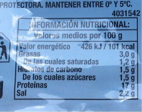 Jamón cocido lonchas sin gluten sin lactosa - Voedingswaarden - es