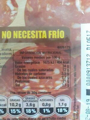 Chorizo Selecto - Informació nutricional