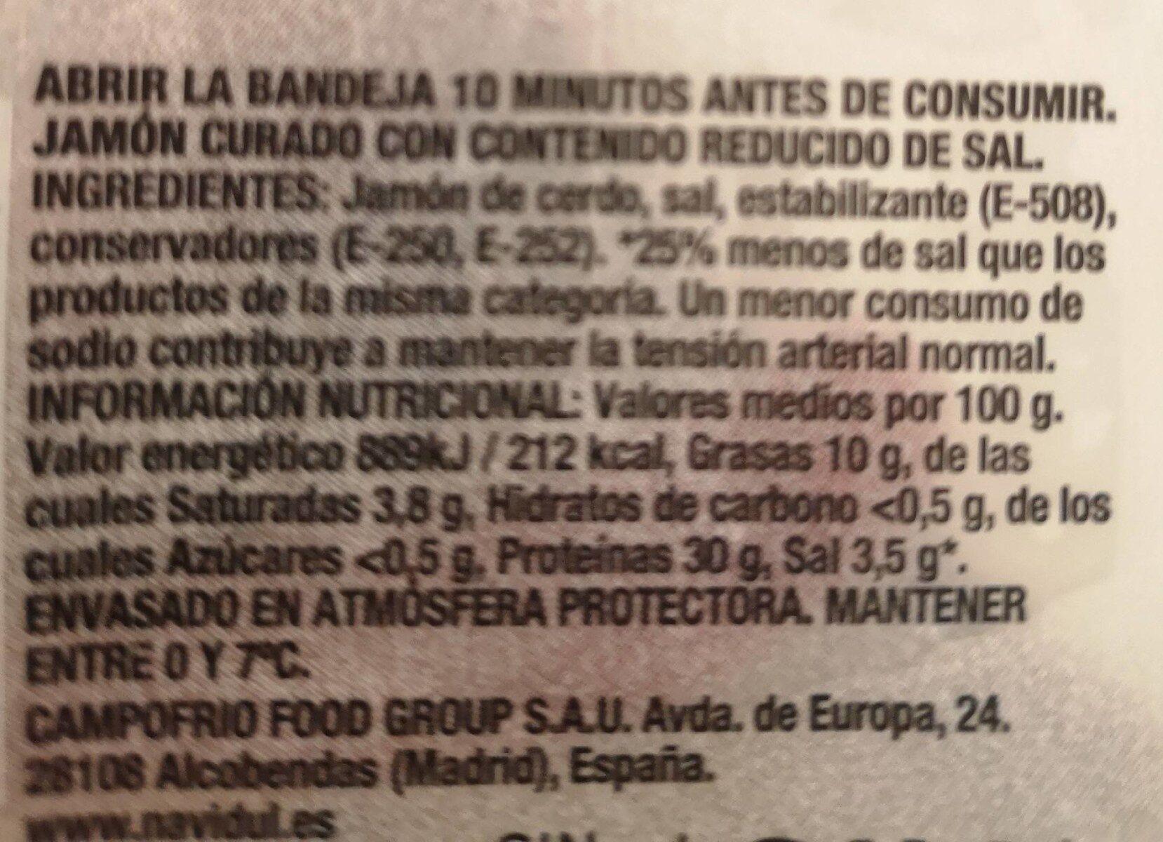 Jamón Curado Lonchas - Información nutricional