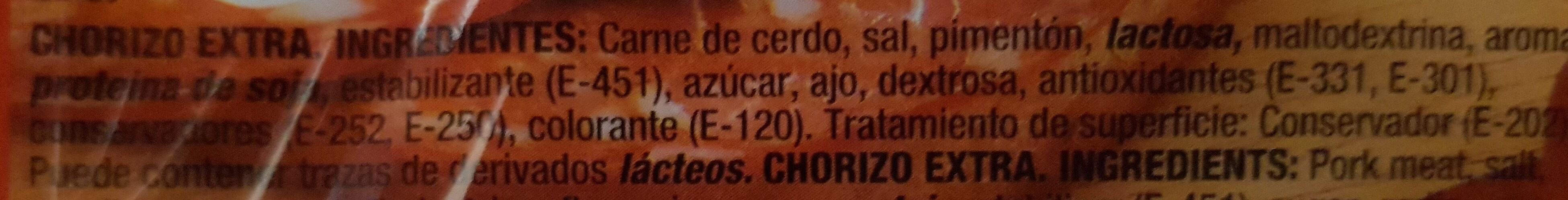 Chorizo tradición extra lonchas sin gluten - Ingredients - es